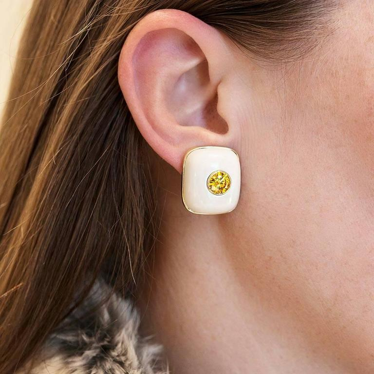 Women's 2.61 Carat Cultured Vivid Orange Yellow Diamonds in Custom Mammoth Tusk Earrings For Sale