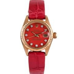 Rolex Ladies yellow gold Datejust Red Diamond Stella Dial Wristwatch