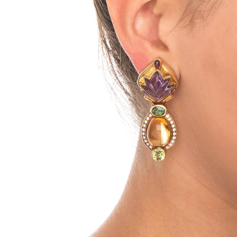 Cabochon Gemstone Diamond Gold Earrings 3