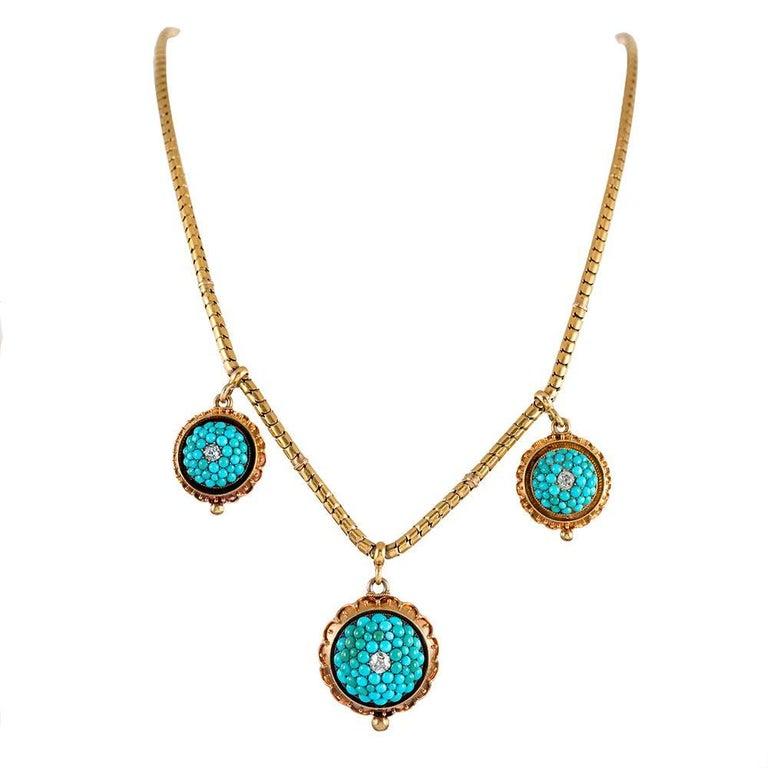 Antique Victorian Turquoise Diamond Necklace