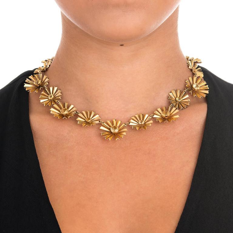 1950s Ruser Yellow Sapphire Gold Starburst Necklace 2