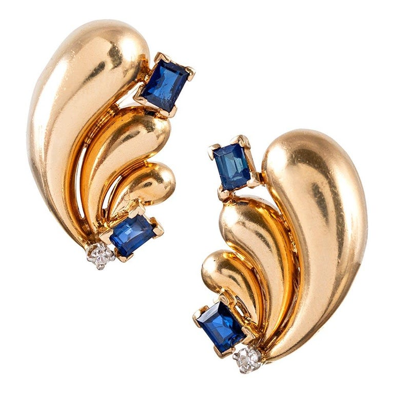 Retro Diamond and Sapphire Earrings, Signed Raymond Yard For Sale