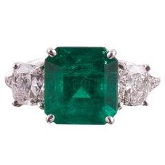 4.56 Carat Colombian Emerald Diamond Ring