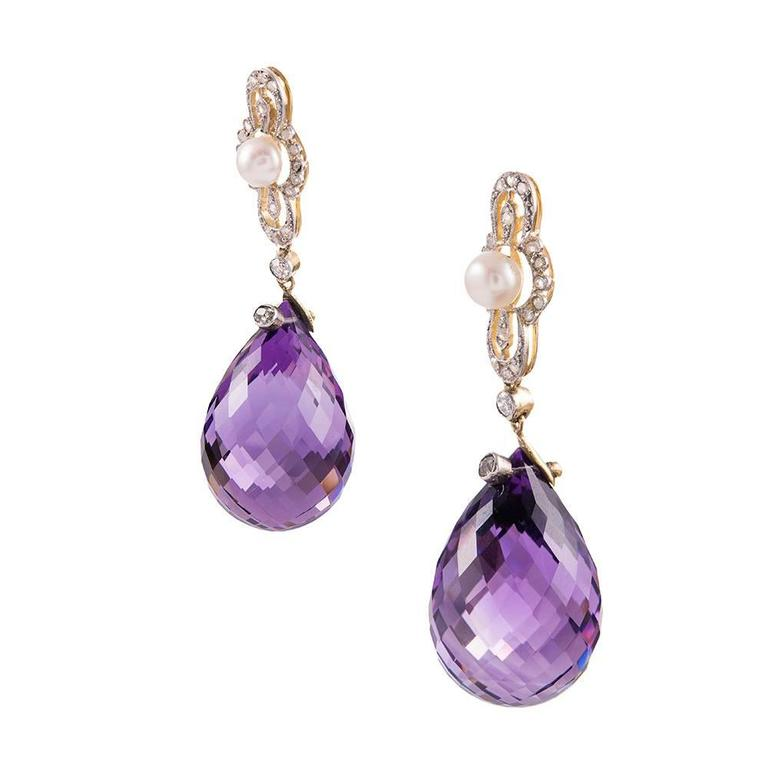 Edwardian Briolette Amethyst Pearl Diamond Platinum Earrings 2