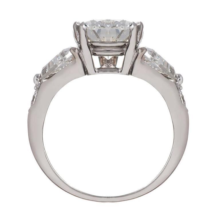 4 02 Carat Pear Center Diamond Platinum Ring at 1stdibs