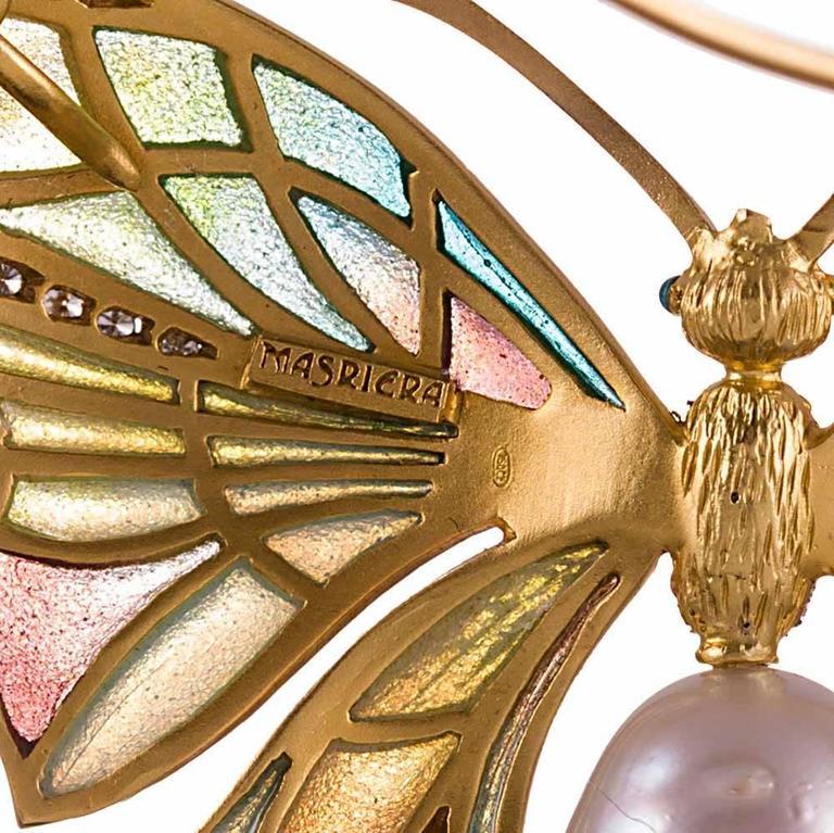 Women's Masriera Plique-a-Jour Enamel Pearl Diamond Butterfly Pendant For Sale