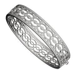 Diamond Open Filigree Gold Bangle Bracelet_Original Retail $10,795