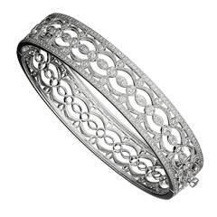 Diamond Open Filigree Gold Bangle Bracelet
