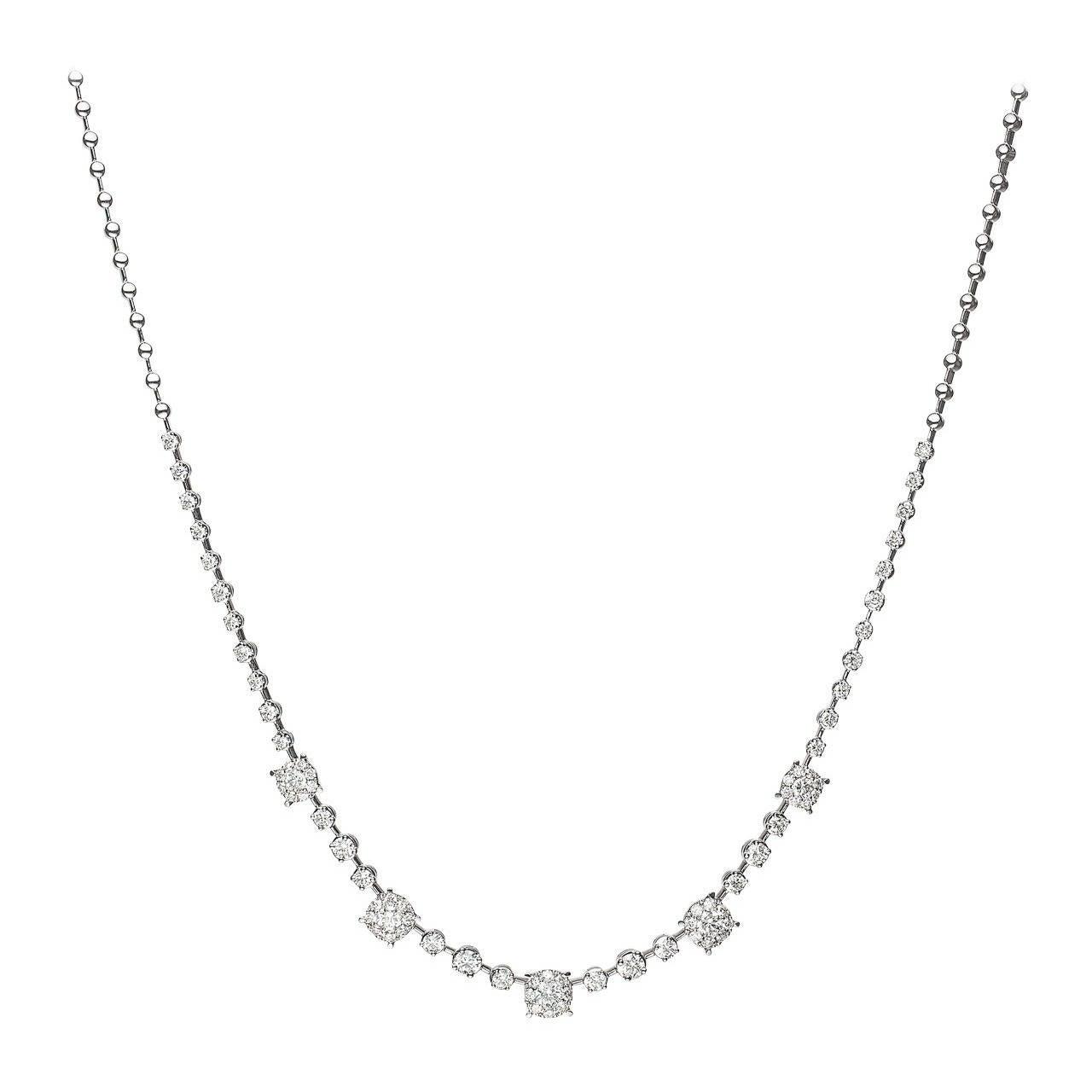Brilliant Diamond Gold Cluster Necklace