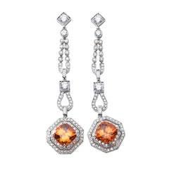 Stunning Mandarin Garnet Diamond Platinum Drop Earrings