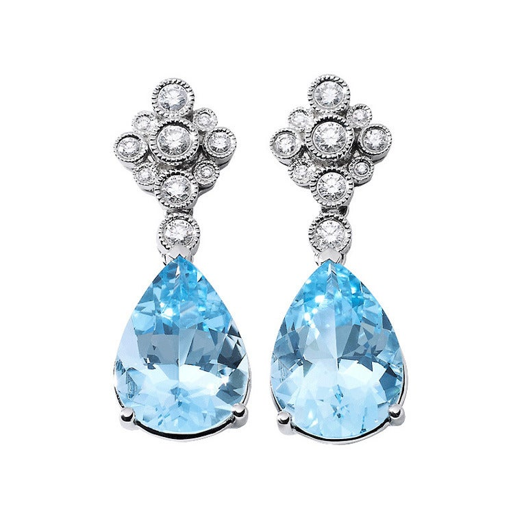 Aquamarine Diamond Drop Gold Earrings 1