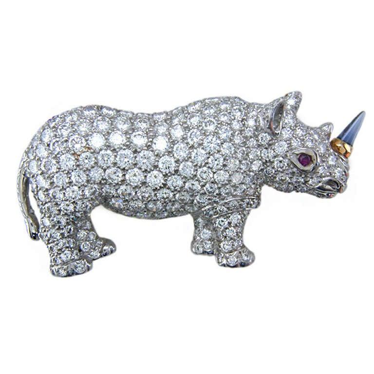 Oscar Heyman for Hamilton Jewelers Diamond platinum rhinoceros brooch