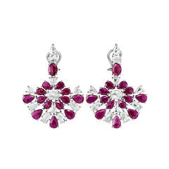 Breathtaking ruby diamond Gold fan motif drop earrings