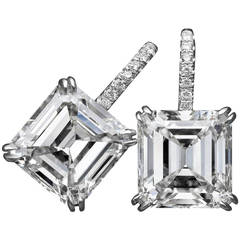 Tremendous Asscher-cut GIA Cert diamond platinum earrings