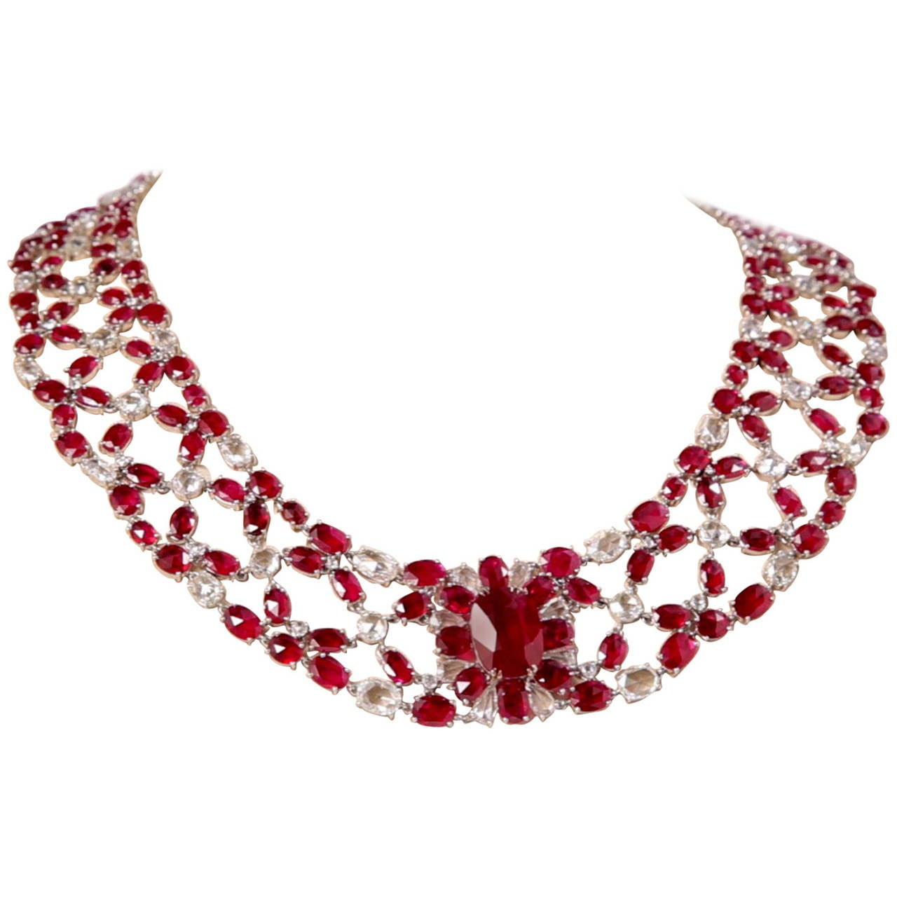 Breathtaking ruby and diamond necklace