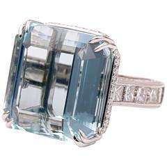 38.57 Carat Aquamarine Diamond Gold Cocktail Ring