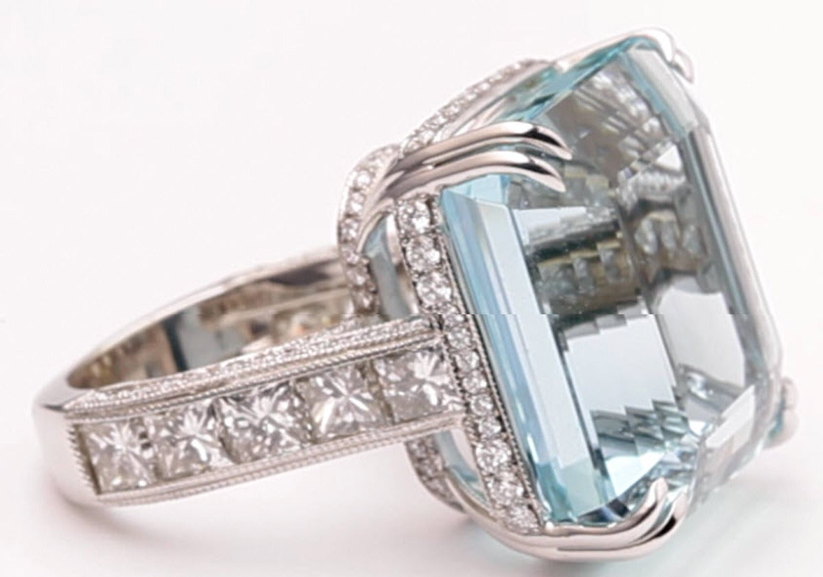Aquamarine is a blue to green-blue variety of precious beryl.  One of the official birthstones for those born in March, Aquamarine is exceptionally hard and has an outstanding vitreous (glass-like) luster. It is most famous for its breathtaking
