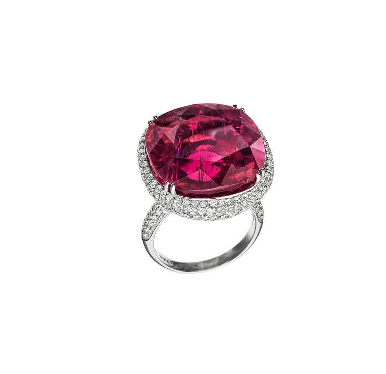 Rare Rubellite Diamond White Gold Ring 2