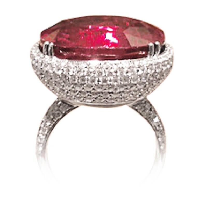Rare Rubellite Diamond White Gold Ring 3