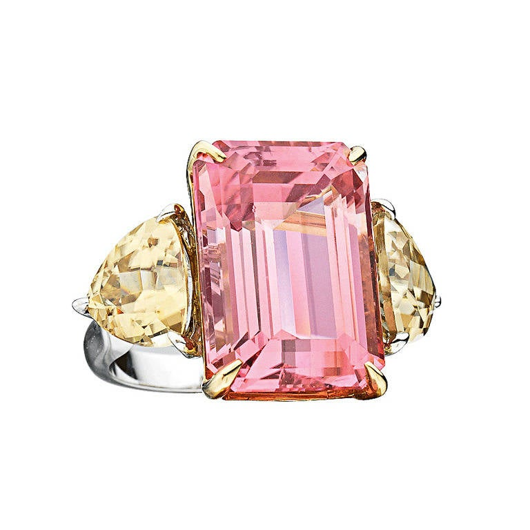 Rare Pink Tourmaline Zircon Gold Ring 1