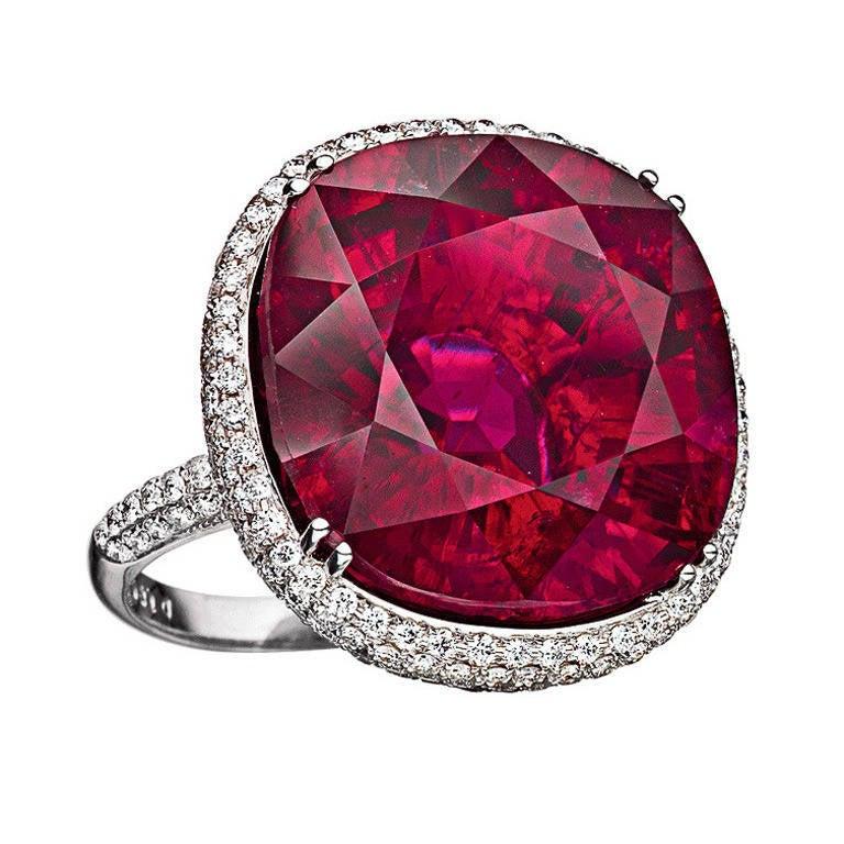 Rare Rubellite Diamond White Gold Ring 1