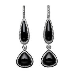 Exquisite Black Spinel Diamond Gold Drop Earrings