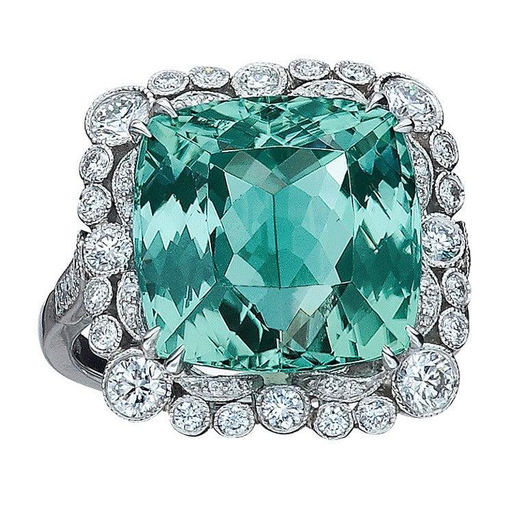 Cushion-Cut Tourmaline Diamond Ring For Sale