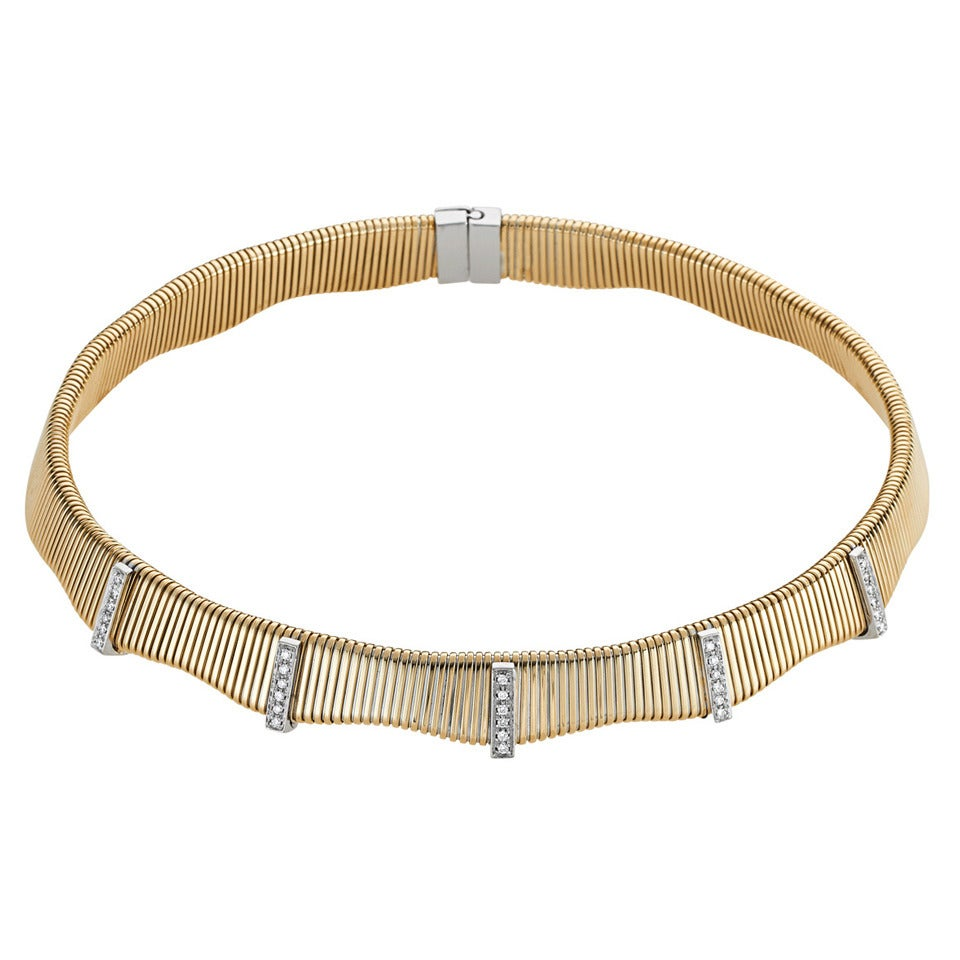 Flexible Diamond Gold Collar Necklace
