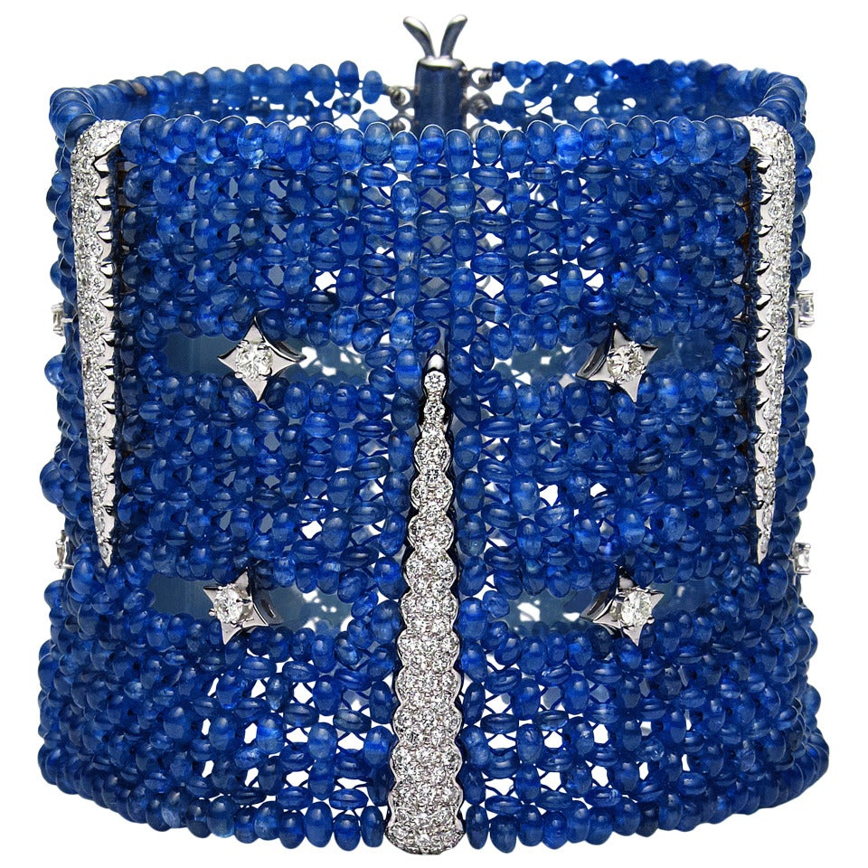 Distinctive Ceylon Sapphire Bead Bracelet For Sale