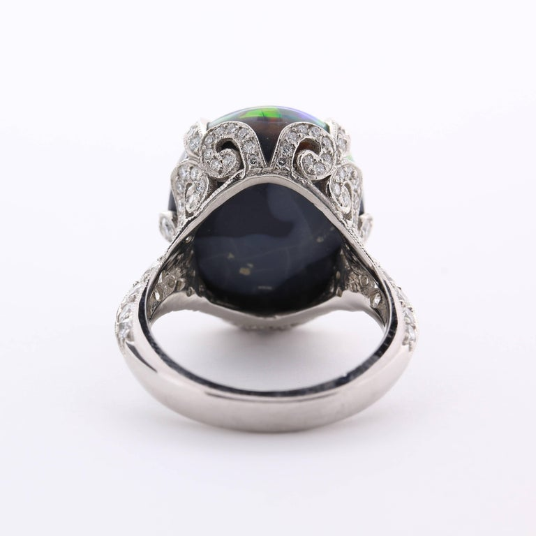 Tiffany & Co. 10.56 Carat Black Opal Diamond Ring In As new Condition For Sale In Princeton, NJ