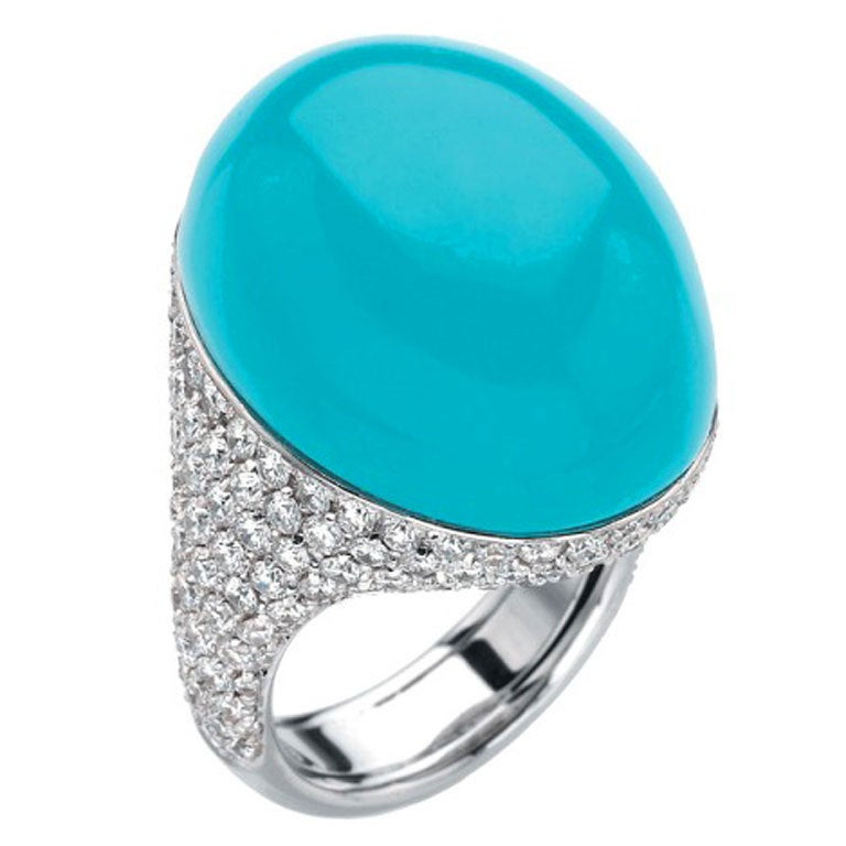Chantecler of Capri Turquoise and Diamond Ring