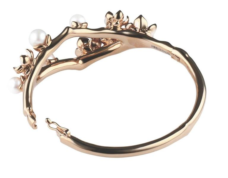 White Diamond, Freshwater Pearl, Enamel and Sterling Silver Bracelet Cuff from the Shaun Leane 'Cherry Blossom' silver jewellery collection  Metal: Rose Gold Vermeil on Sterling Silver 6 G Colour VS2 excellent-cut white diamonds White Freshwater
