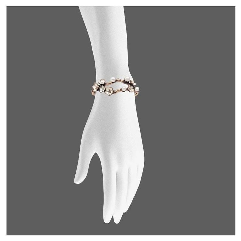 Contemporary Shaun Leane Cherry Blossom Cuff in Rose Gold Vermeil with Diamonds For Sale