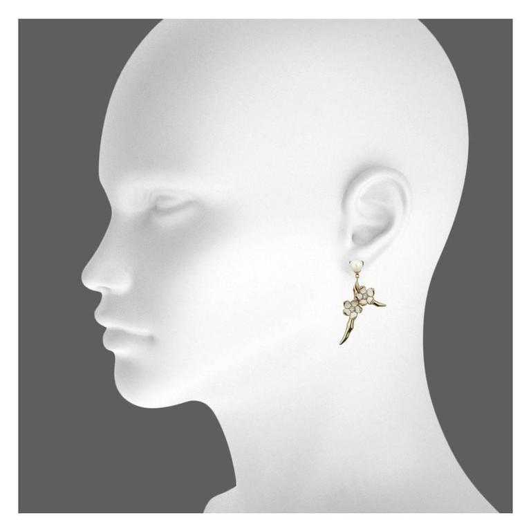 18ct Rose Gold Vermeil and Sterling Silver White Diamond, Enamel and Sterling Silver Small Branch Earrings from the Shaun Leane 'Cherry Blossom' silver jewellery collection.  Metal: Sterling silver with Rose Gold Vermeil 2 x Freshwater Pearls 4