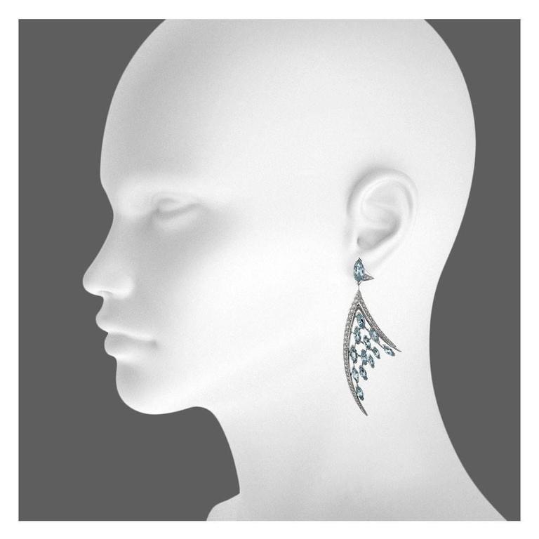 Shaun Leane Large Aquamarine Diamond Gold Ariel Earrings 2