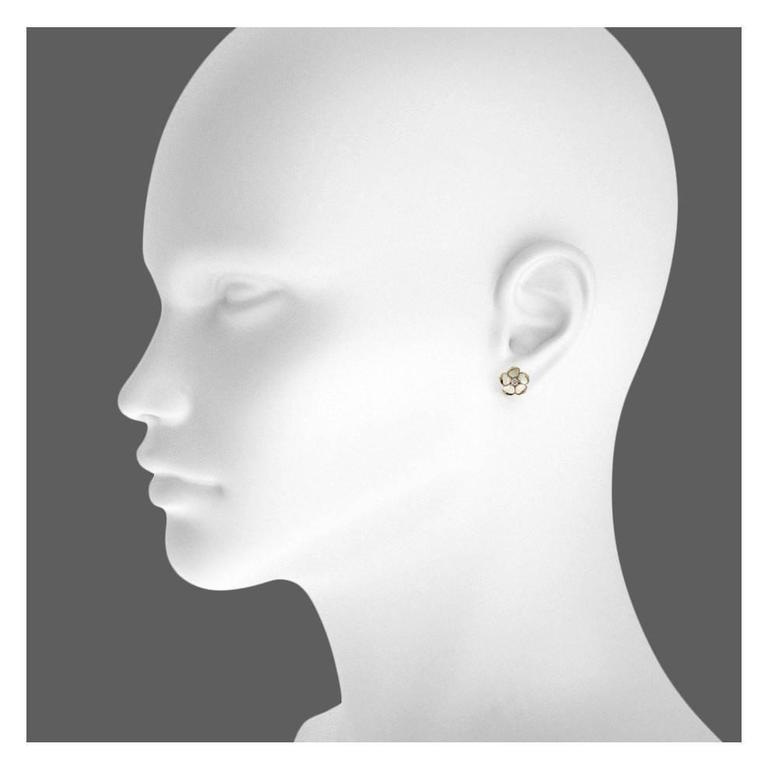 Shaun Leane Enamel Diamond Gold Vermeil Small Blossom Stud Earrings  2