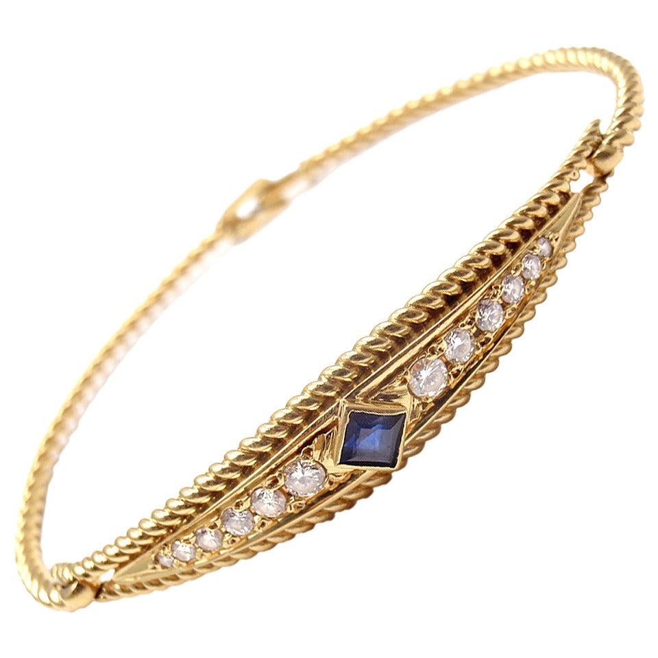 Christian Dior Sapphire Diamond Yellow Gold Bangle Bracelet For Sale