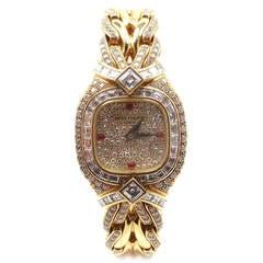 Patek Philippe Lady's Yellow Gold Diamond Ruby La Flamme Bracelet Watch Ref 4808