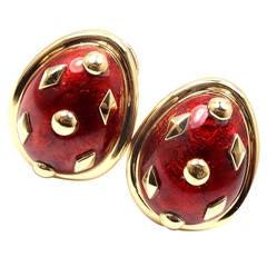 Tiffany & Co. Jean Schlumberger Red Enamel Gold Earrings