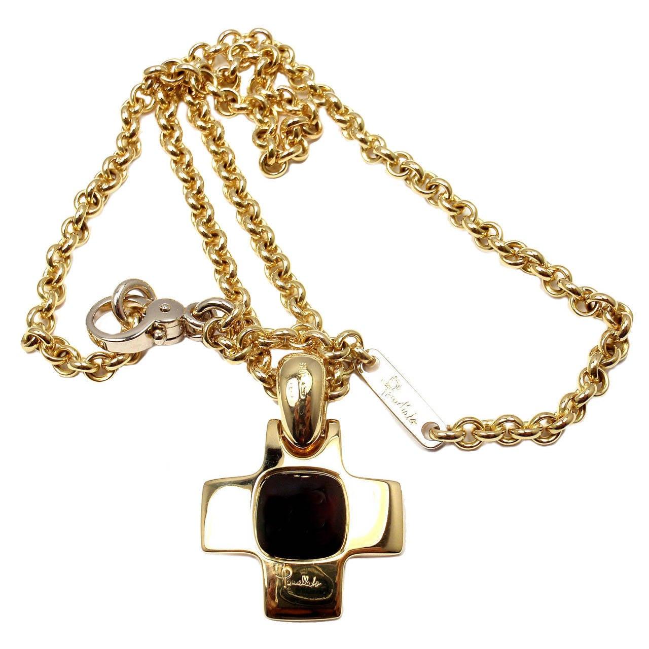 Pomellato Garnet Cross Pendant Gold Link Necklace