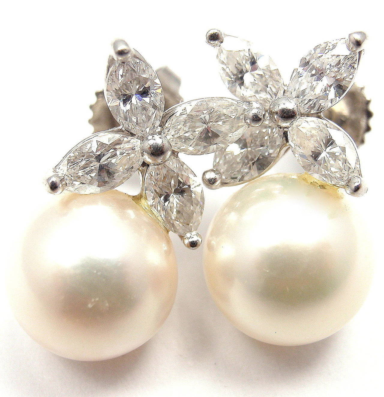 Tiffany And Co Victoria Pearl Diamond Platinum Earrings At 1stdibs