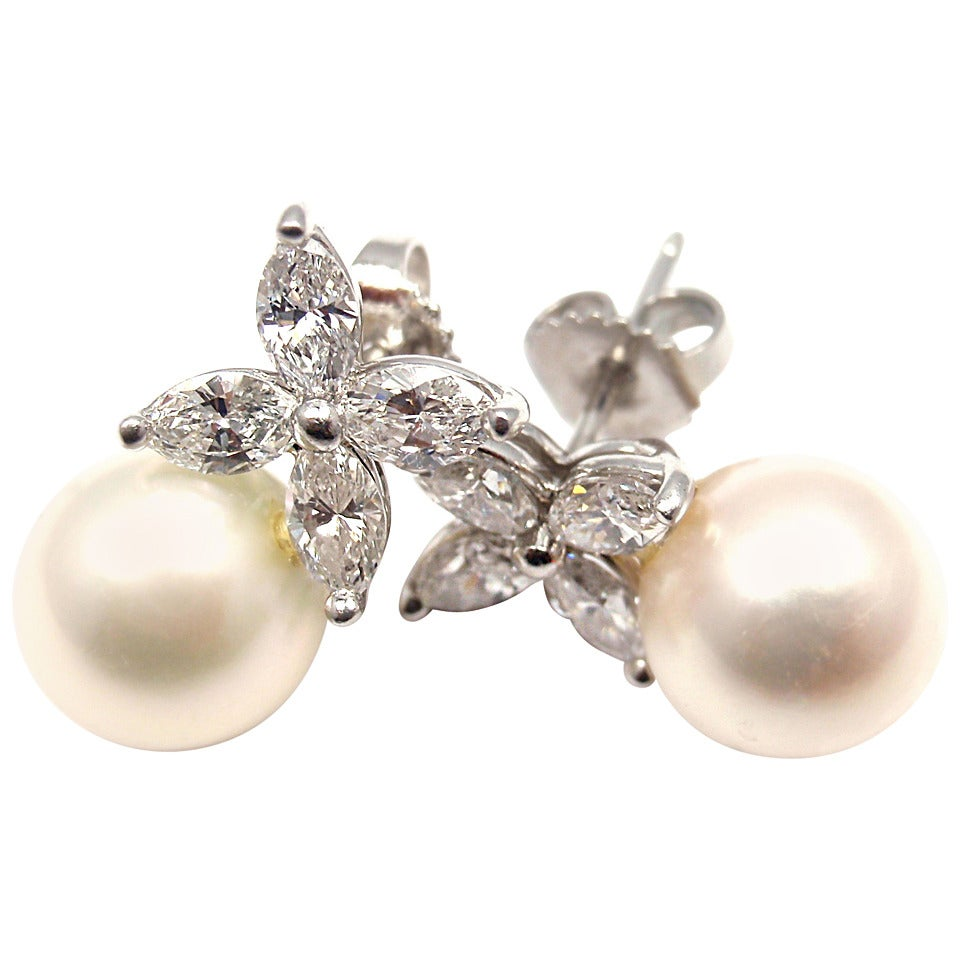Victoria Pearl Diamond Platinum Earrings 1