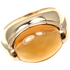 Bulgari Large Citrine Gold Band Ring