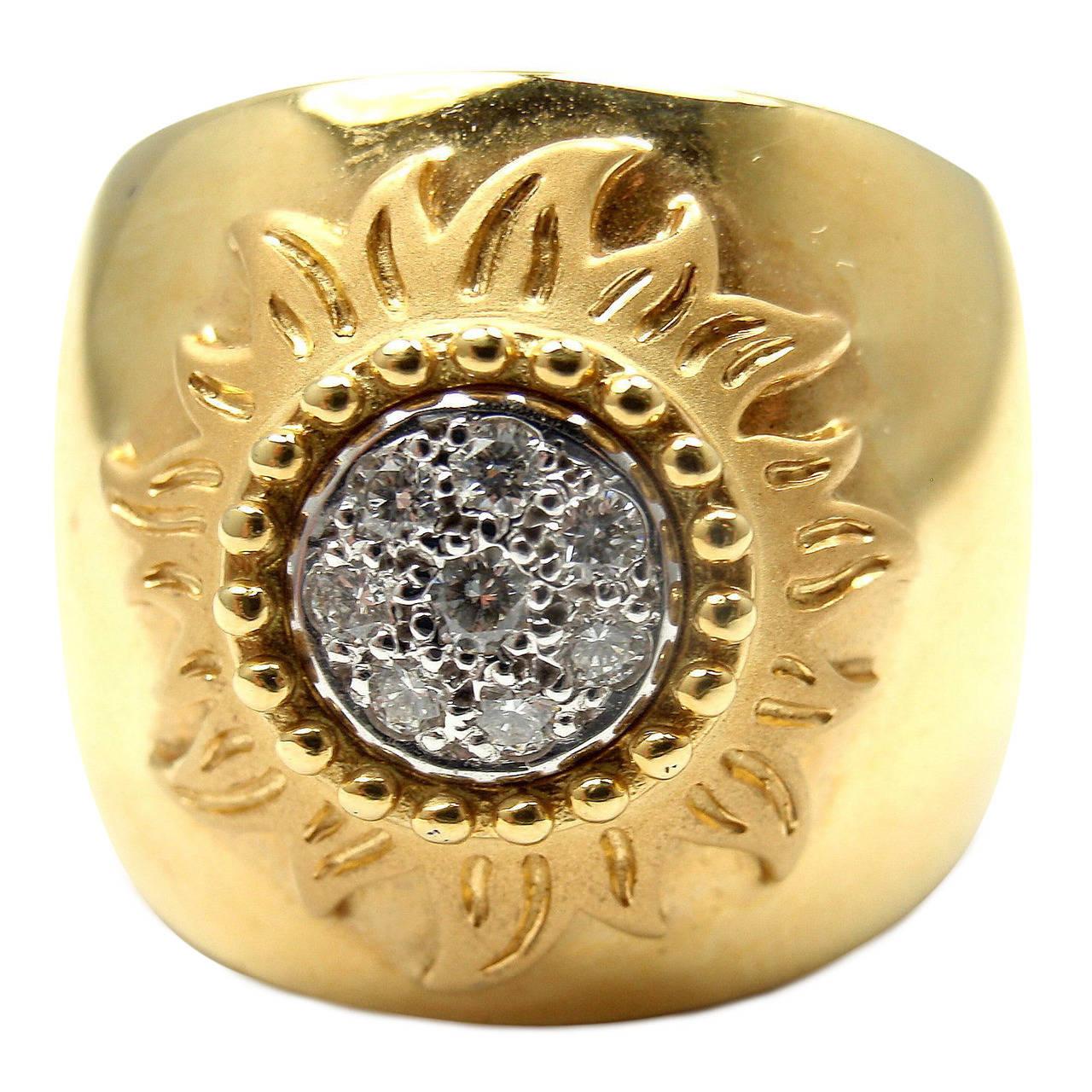 Carrera Y Carrera Sol Y Sombra Sun Diamond Gold Ring