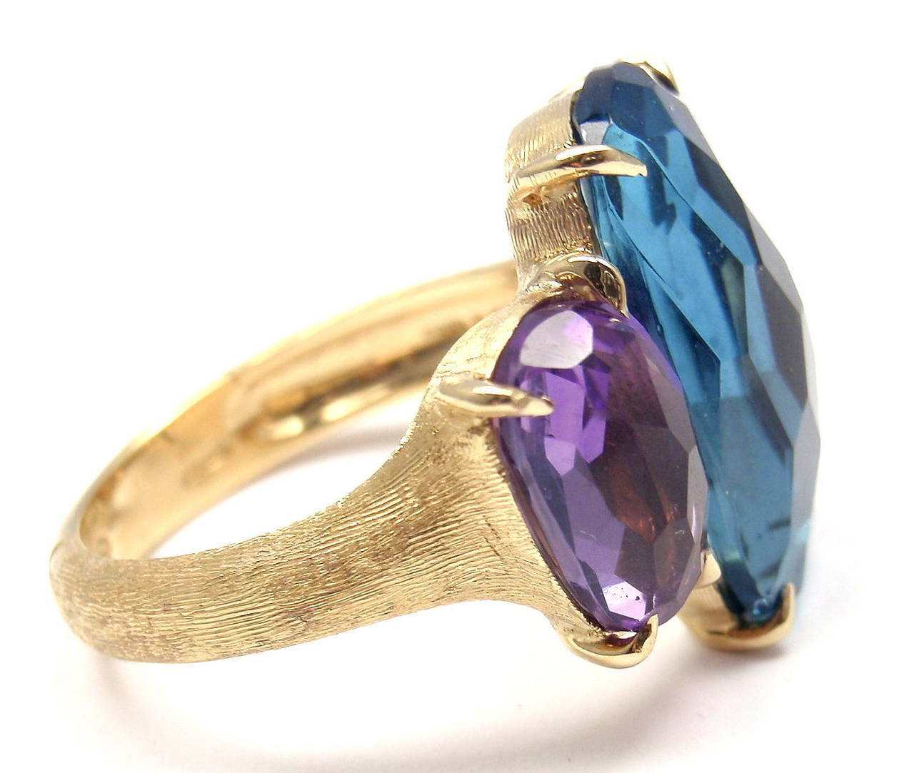 Marco Bicego Murano London Blue Topaz Amethyst Gold Ring 2
