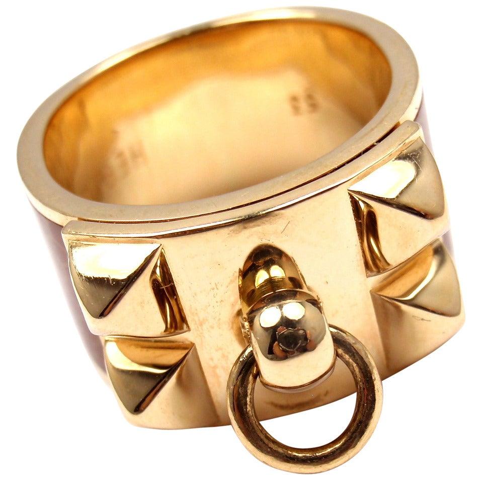 Hermes Collier de Chien Enamel Gold Band Ring