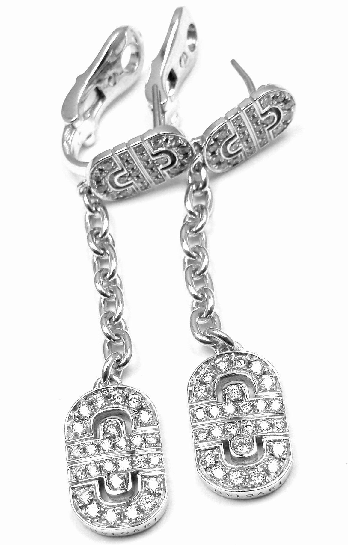 Bulgari Parentesi Diamond Gold Drop Earrings at 1stdibs