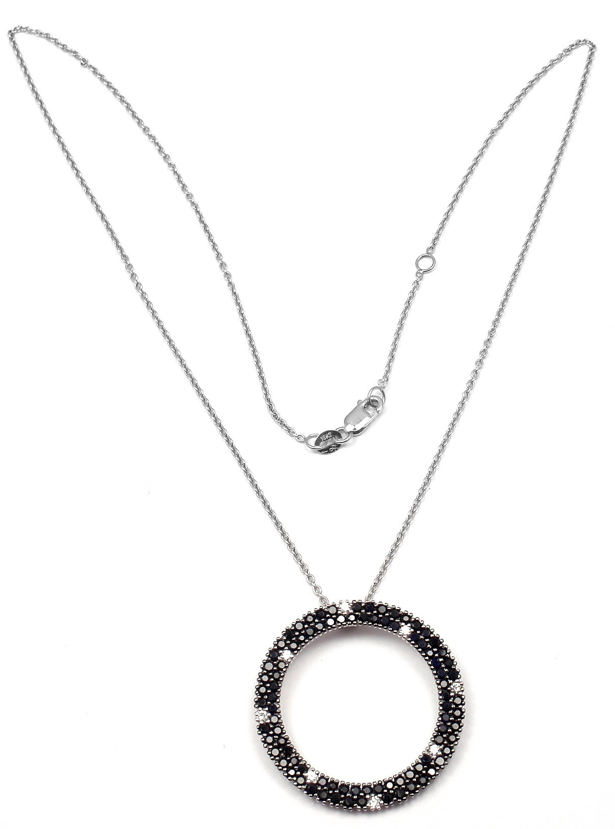 Roberto Coin Fantasia Black Sapphire Diamond Gold Pendant Necklace