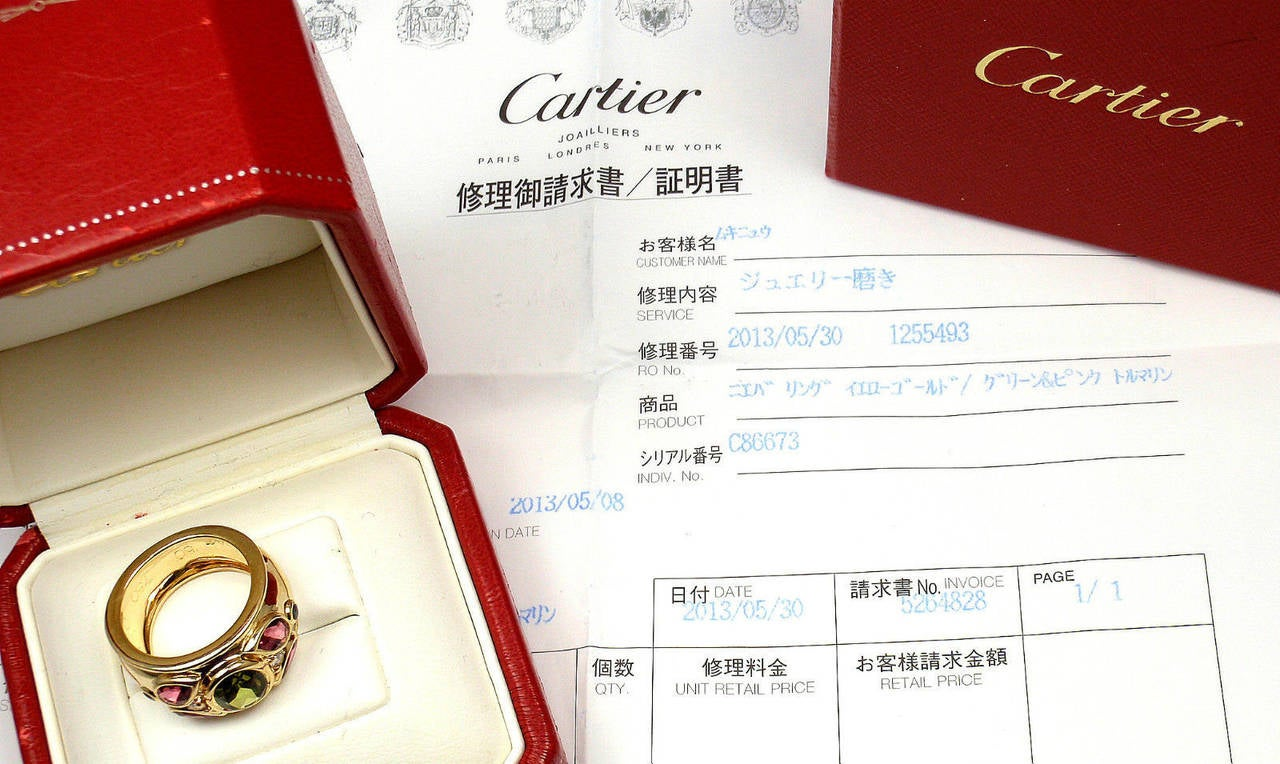Cartier Tourmaline Sapphire Diamond Gold Band Ring For Sale 4