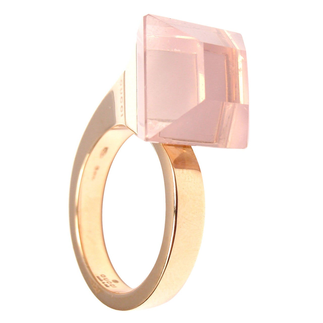 Gucci Pink Quartz French Horn Rose Gold Band Ring For Sale